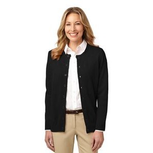 Port Authority® Value Ladies Jewel Neck Cardigan Sweater