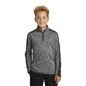 Youth Sport-Tek® PosiCharge® Electric Heather Colorblock 1/4-Zip Pullover