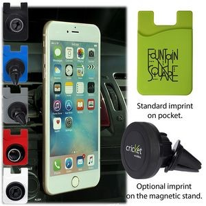 Magnetic Auto Phone Holder w/Phone Pocket