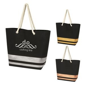Metallic Accent Rope Tote Bag