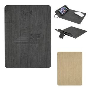 Woodgrain Wireless Charging Mouse Pad With Phone Stand